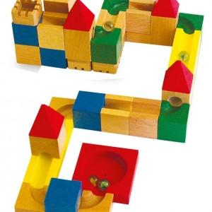 costruzioni in legno pista biglie assemblabile giocattolo